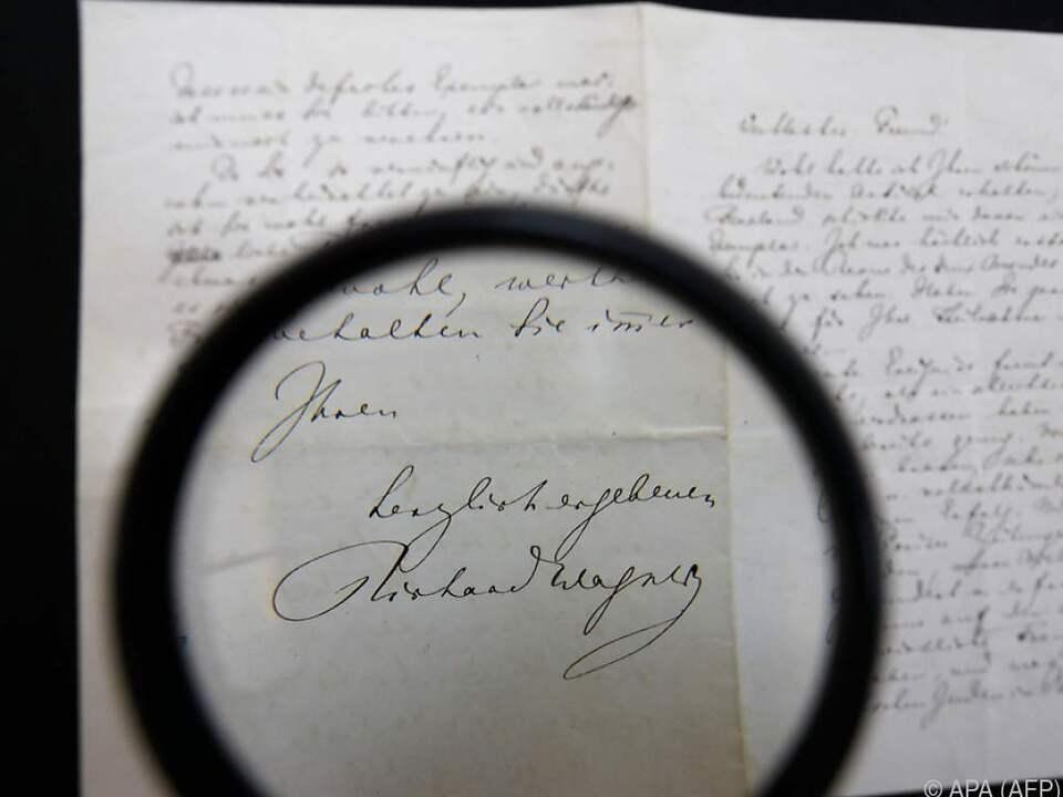 Richard Wagners Unterschrift unter dem Brief an Edouard Schure