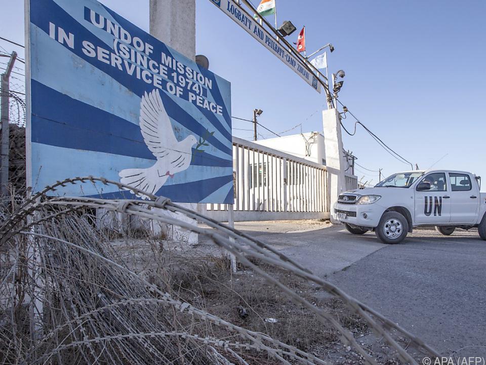 Von Blauhelm-Soldaten bewachte Pufferzone auf den Golan-Höhen