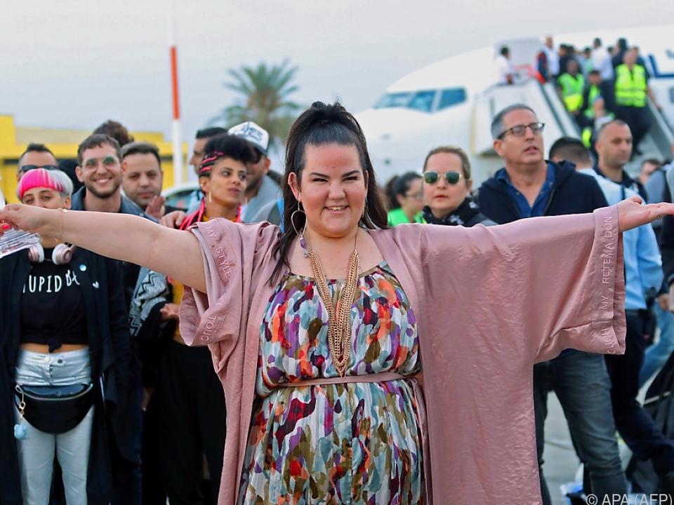 Netta bei der Ankunft in Tel Aviv