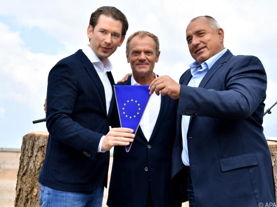 Borrisow übergab Kurz einen EU-Wimpel