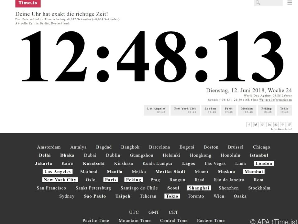 Die Website time.is gibt einen guten Überblick über die Zeit