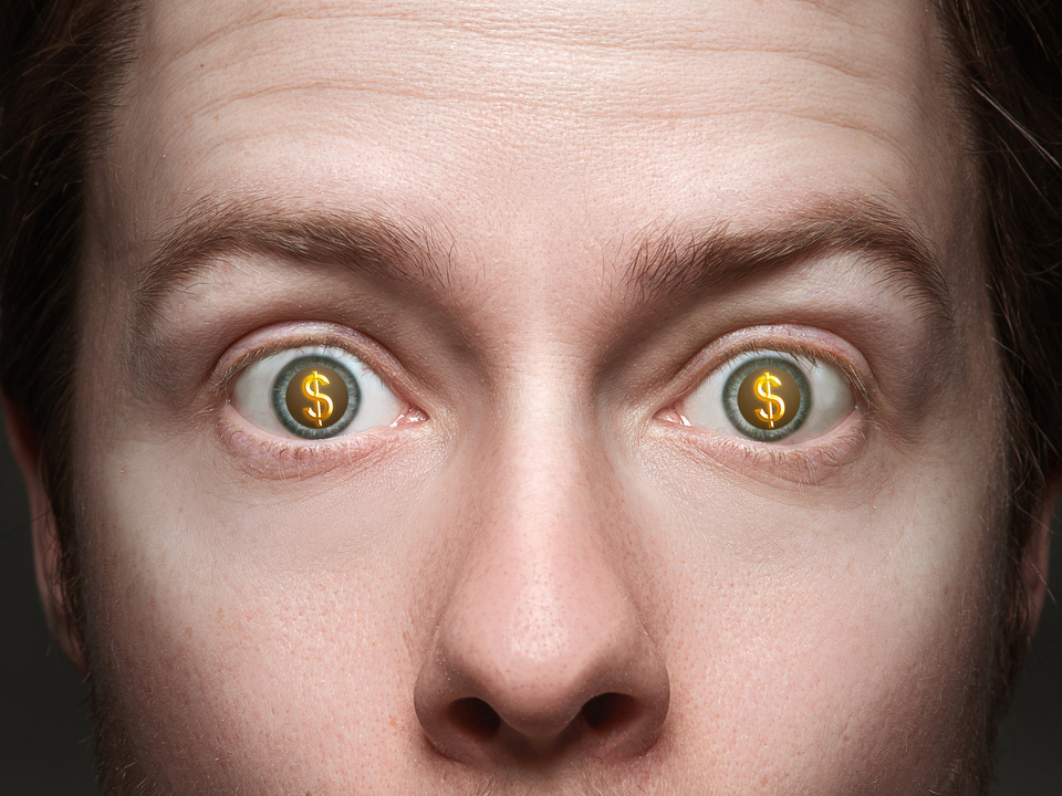 Mann Dollar Augen Geld Man with dollar signs in his eyes