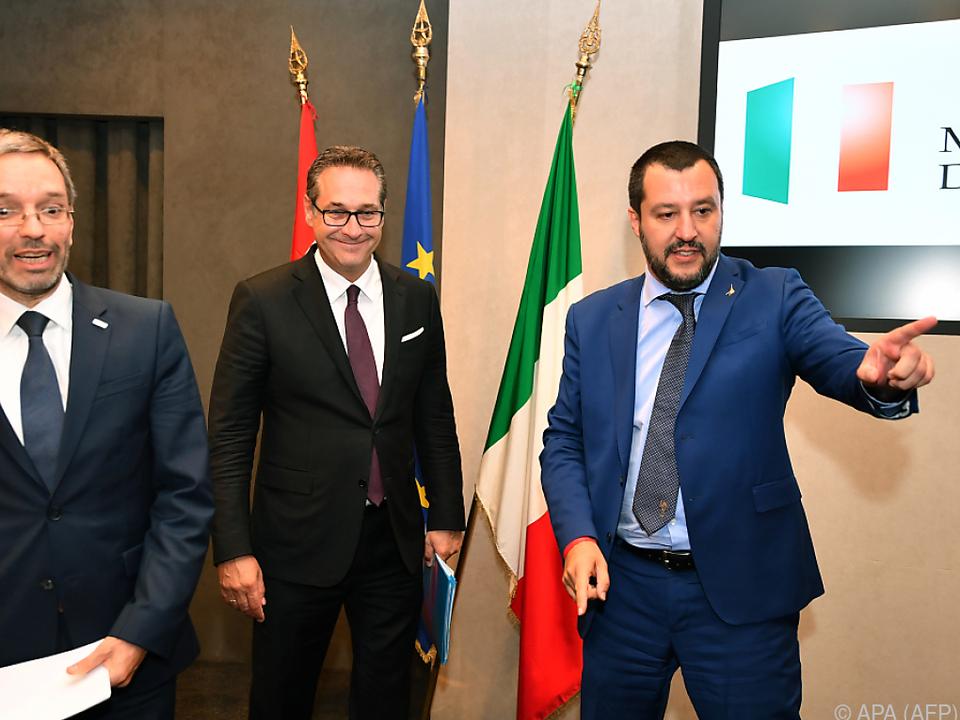 Kickl und Strache zu Gast bei Salvini