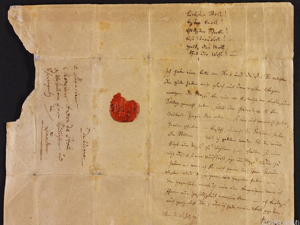 Mozart schrieb den Brief 1791 an seinen Freund Anton Stoll
