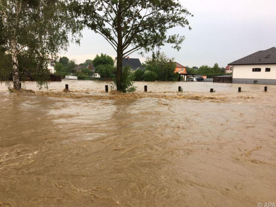 Noch am Samstag waren Teile des Bezirks Oberwart überflutet