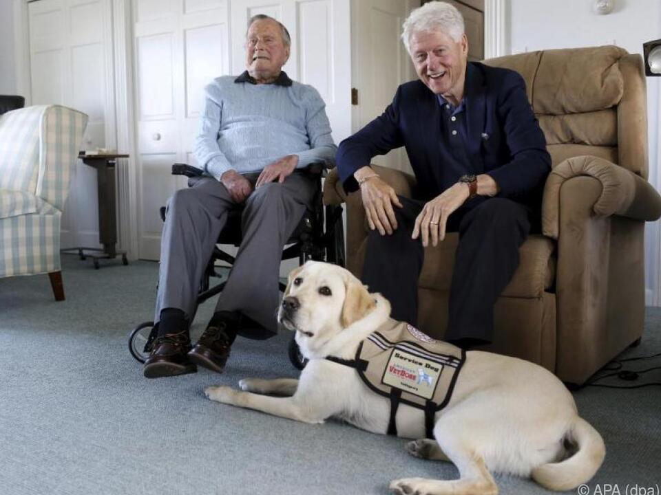 Stillleben mit zwei Ex-US-Präsidenten plus Hund