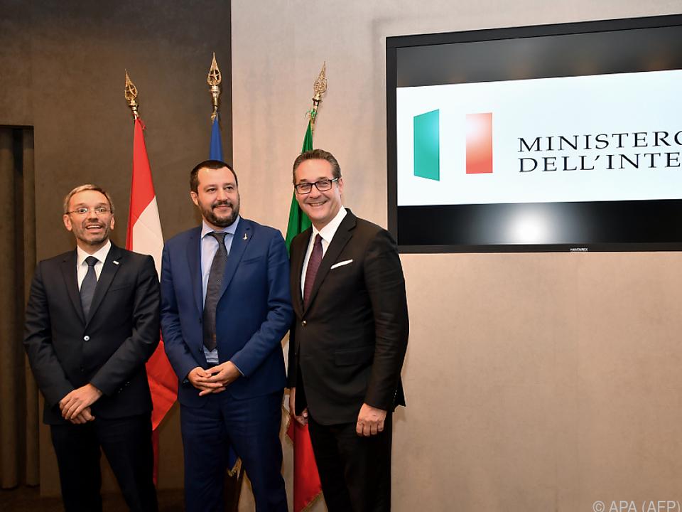 Strache und Italiens Innenminister Salvini sind sich einig