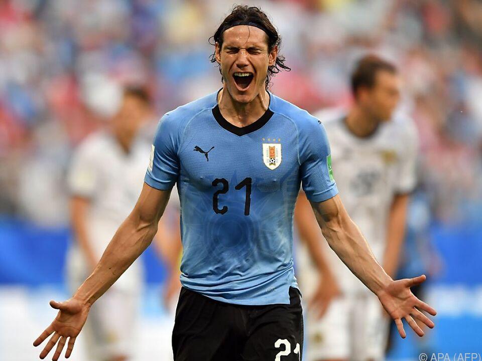 Uruguay-Bomber Edinson Cavani erzielte seinen ersten WM-Treffer