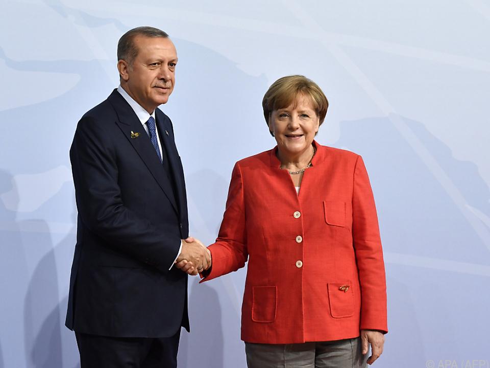 Erdogan und Merkel beim G20-Gipfel in Hamburg im Juli 2017