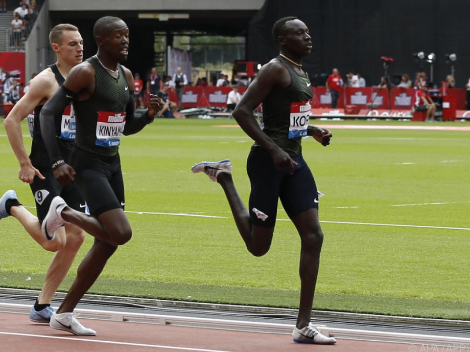 Korir lief 800 m in 1:42,05 Minuten