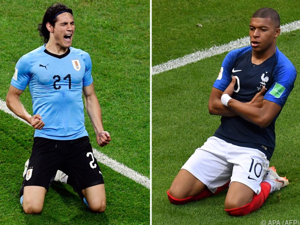 Stürmerduell Uruguays Edinson Cavani gegen Frankreichs Kylian Mbappe