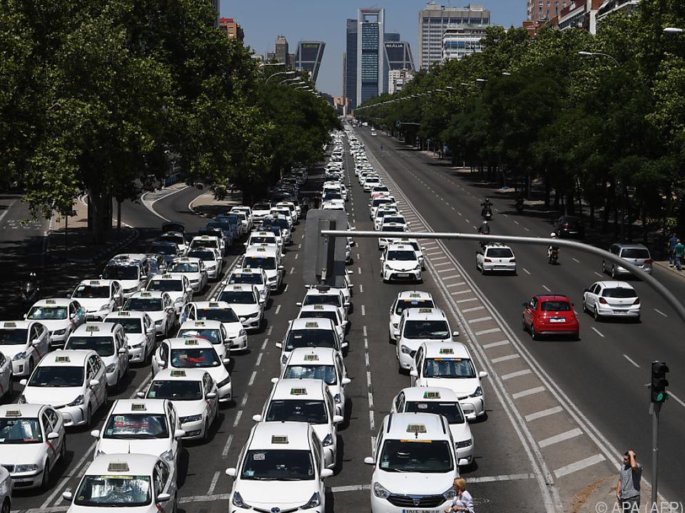 Taxi-Fahrer verstopften Castellana-Allee