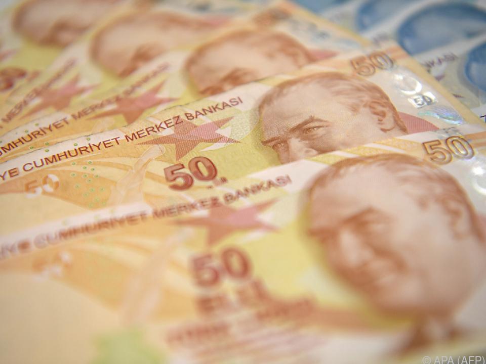 Türkische Lira untere Druck