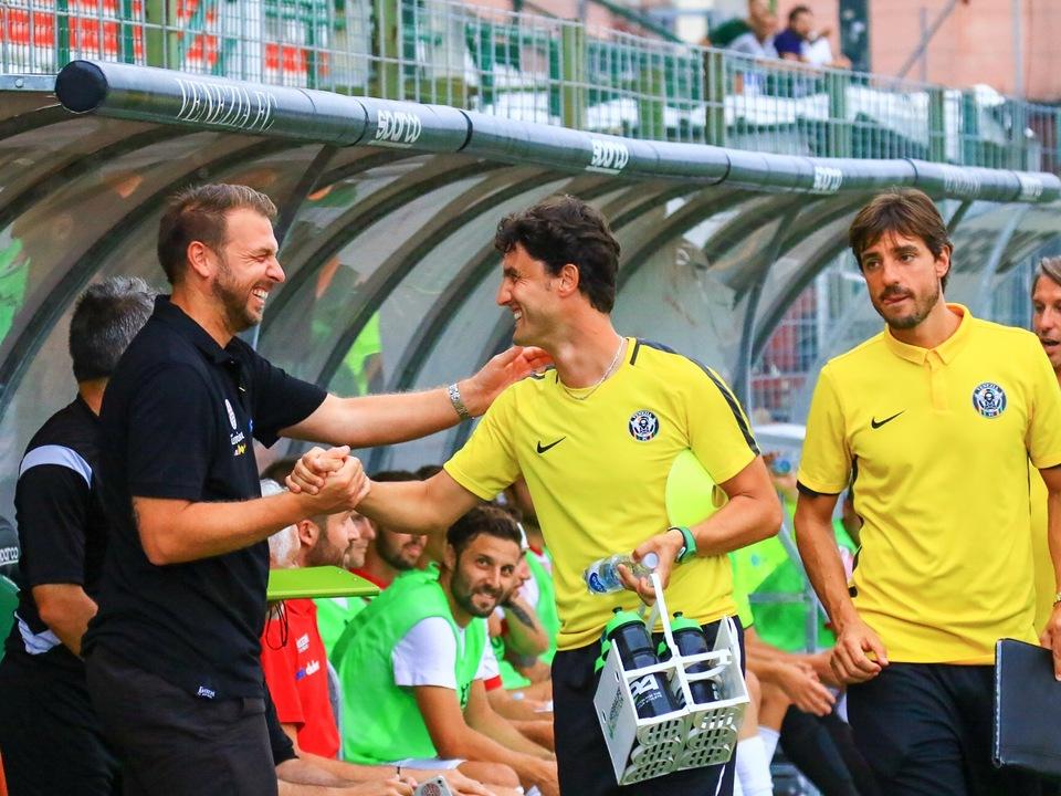 Il saluto di mister Zanetti all\'ex Fabio Trentin