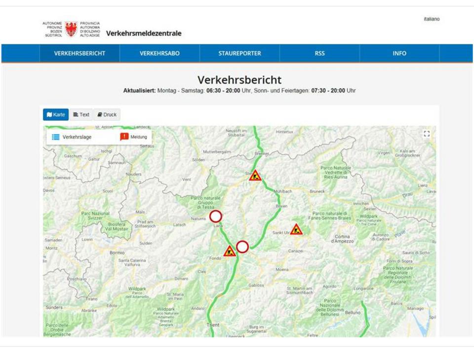 Die neue Webseite der Landesverkehrsmeldezentrale./Foto LPA