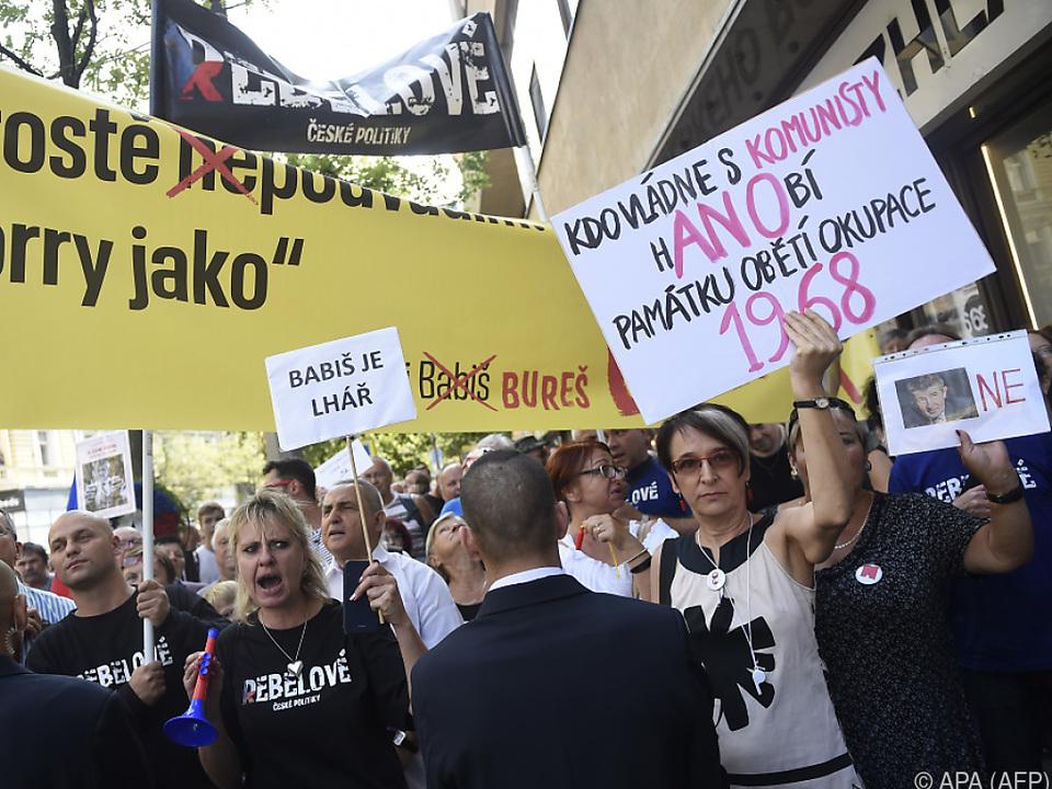 Demonstranten pfiffen Babis aus