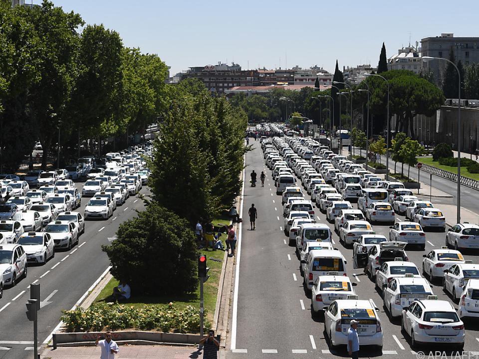 Der Taxistreik hatte in Madrid beeindruckende Ausmaße angenommen