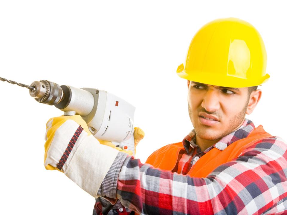 handwerk Bauarbeiter Bohrmaschine arbeit job sym