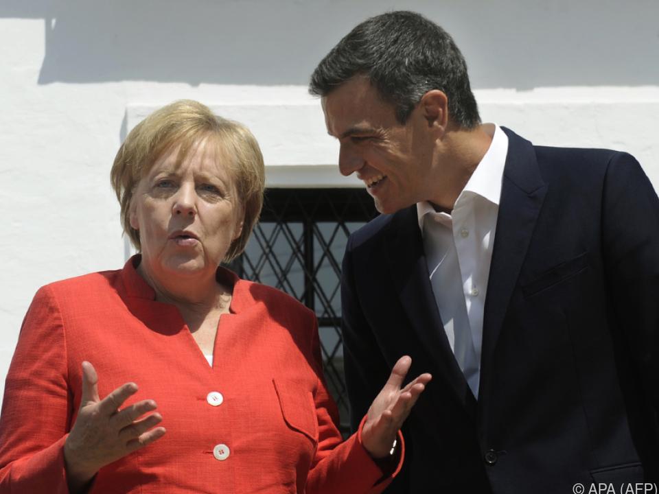 Merkel mit Spanies Regierungsschef Sanchez