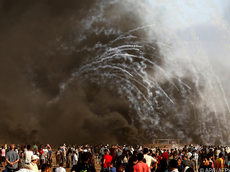 Wieder protestierten Palästinenser an der Grenze