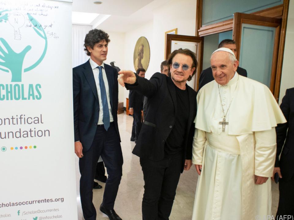 Bono und Papst Franziskus schienen sich gut zu verstehen