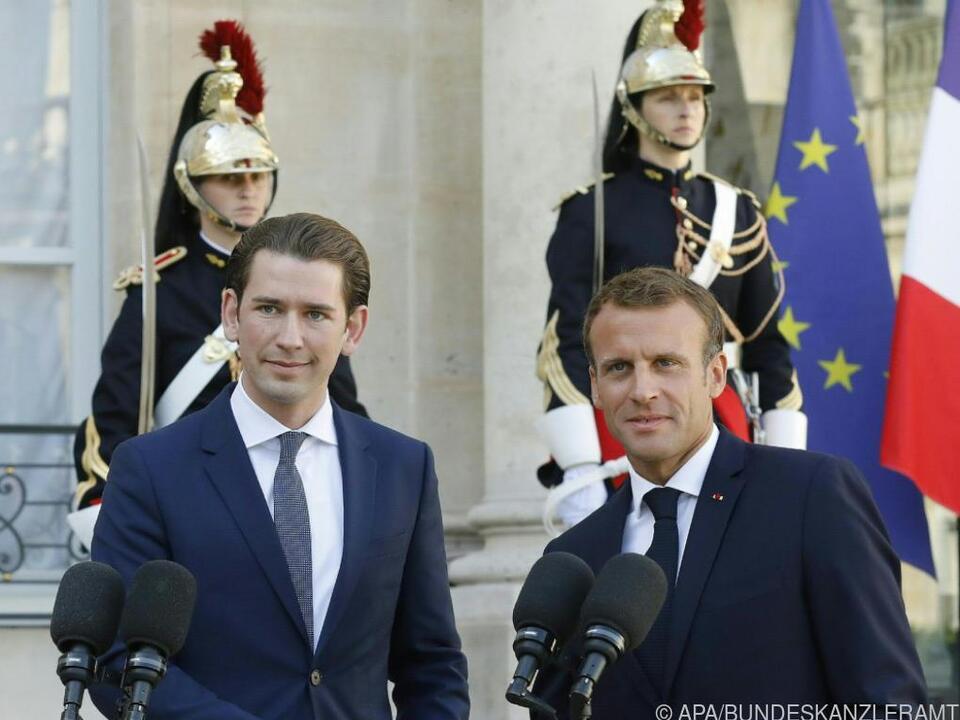 Bundeskanzler Kurz zu Besuch beim französischen Präsidenten Macron