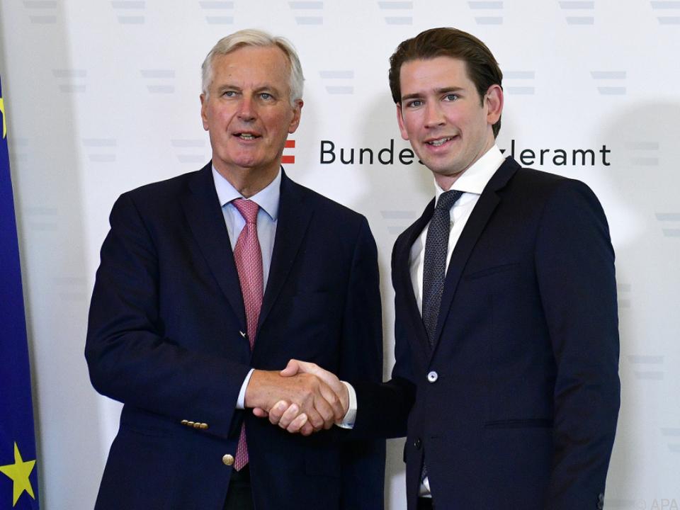 Chefverhandler Barnier mit Kanzler Kurz