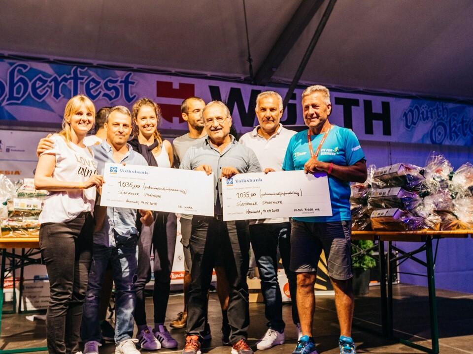 Scheckübergabe Firmenlauf 2018, Südtiroler Sporthilfe