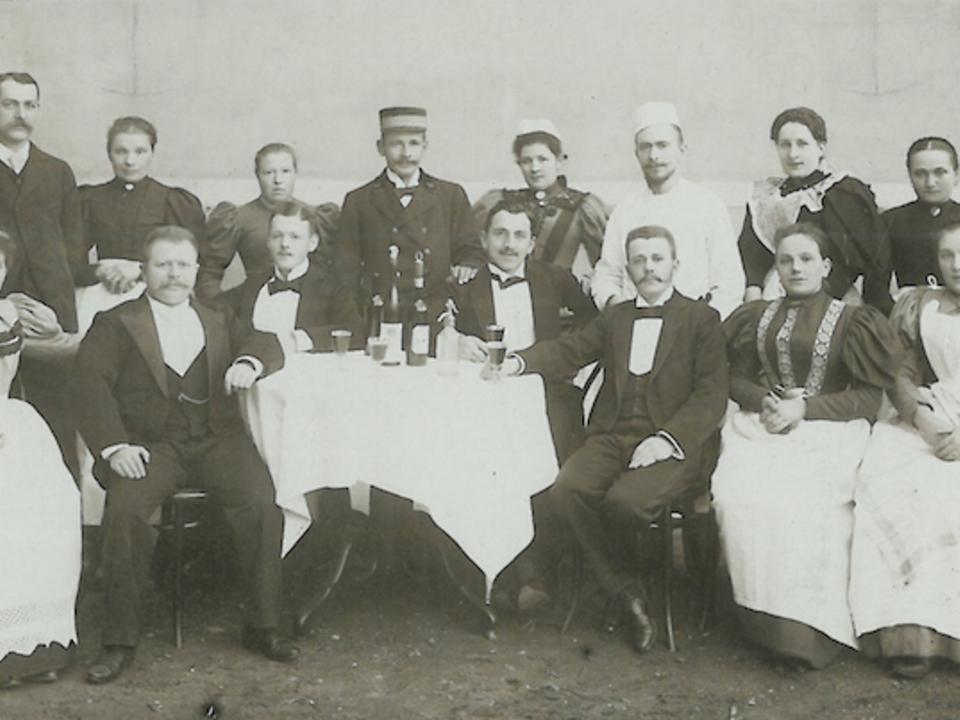 Hotelpersonal Tirolerhof Meran, 1900 ca.