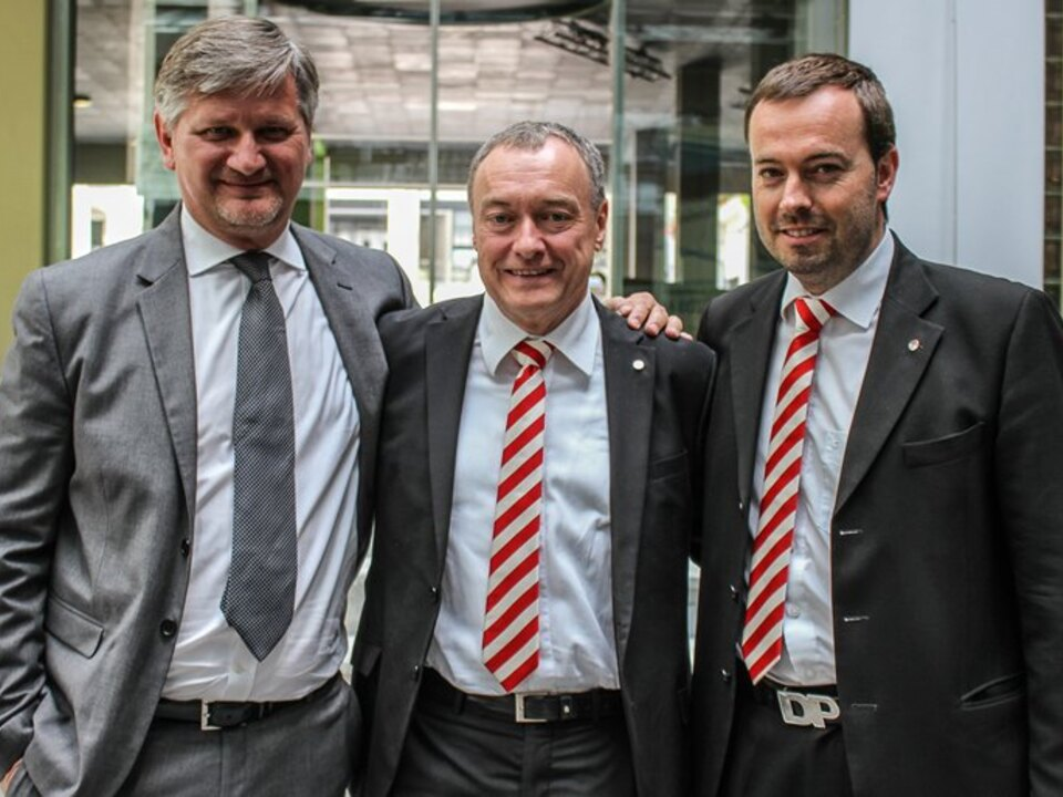 Il Presidente Baumgartner al centro fra il Vice Presidente Roberto Zanin (a sx) e l\'Amministrartore Delegato Dietmar Pfeifer