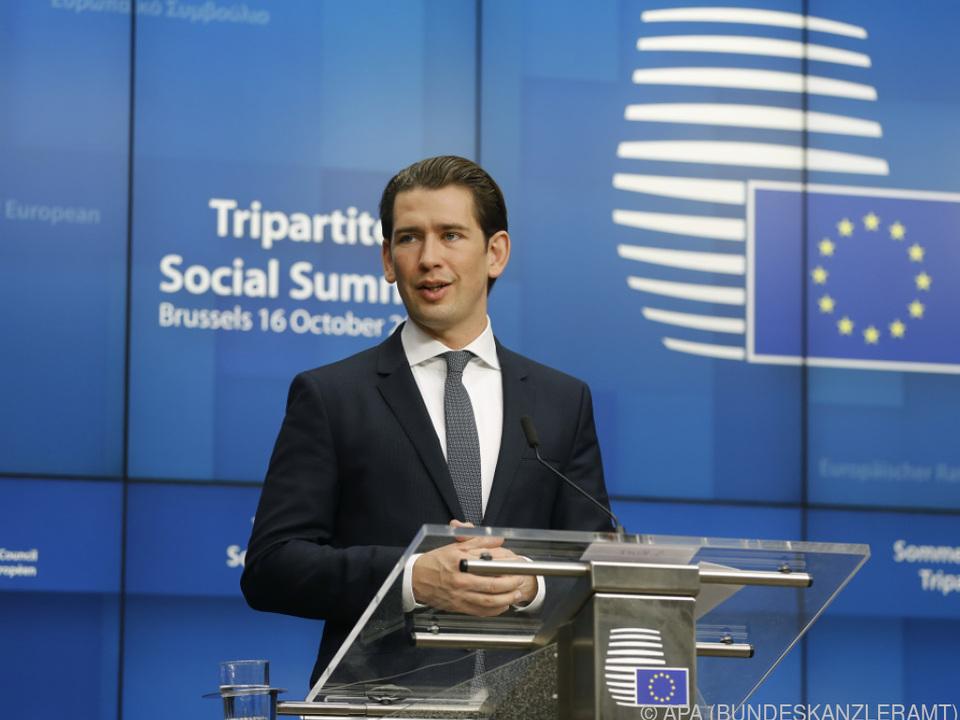 Kurz weist auf die Fortschritte seit dem letzten EU-Gipfel im Juni hin