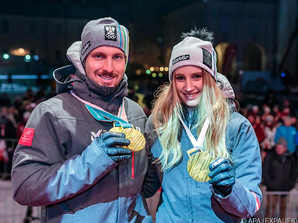 Marcel Hirscher und Anna Gasser bei der ÖOC-Medaillenfeier im Februar