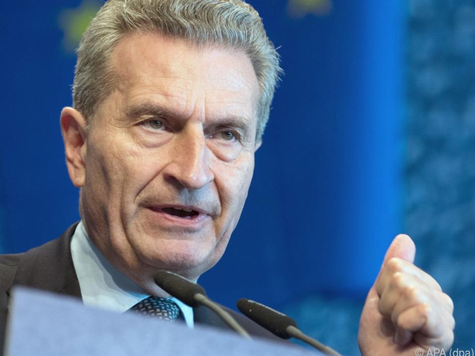Oettinger bestätigt die Zurückweisung des Budgetentwurfs