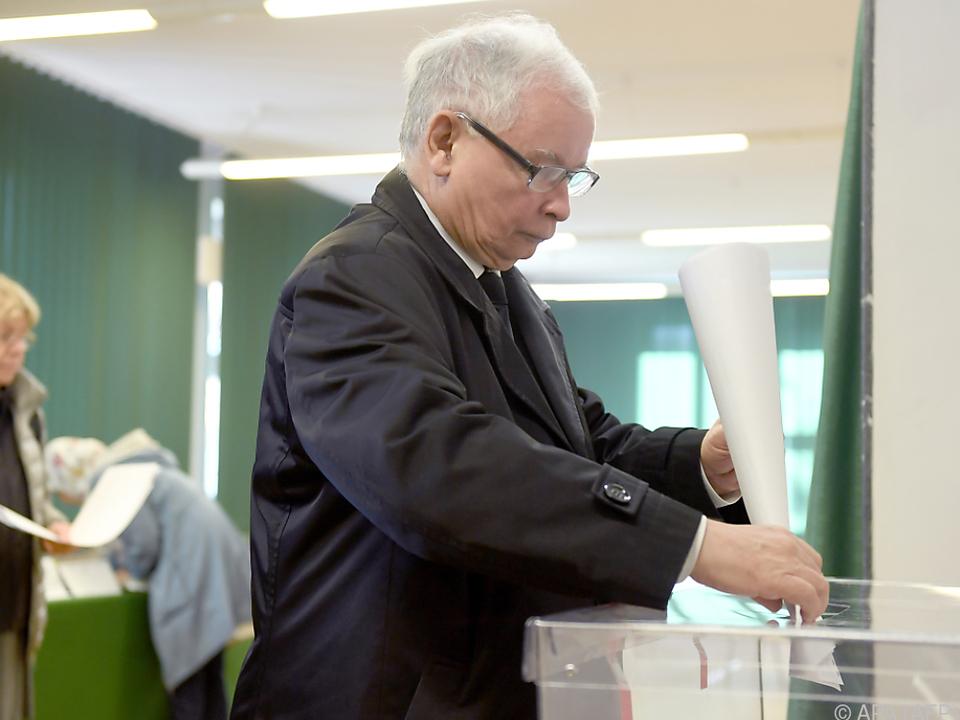 PiS-Chef Kaczynski bei der Stimmabgabe