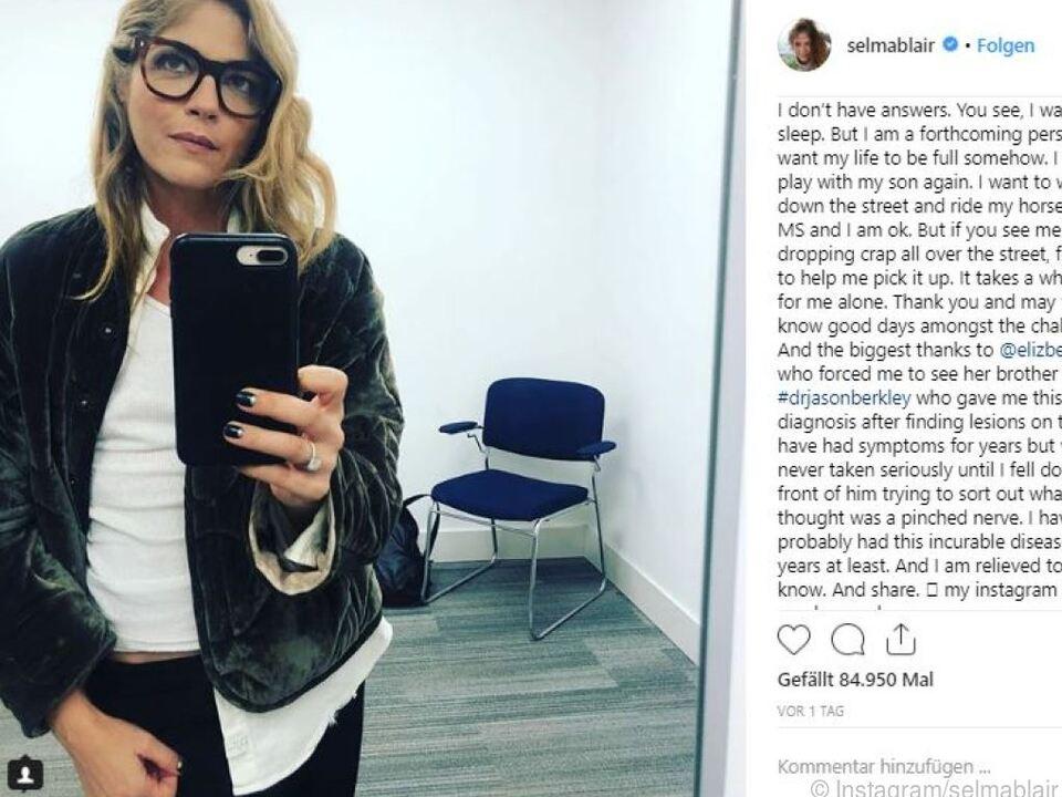 Selma Blair machte ihre Krankheit auf Instagram öffentlich