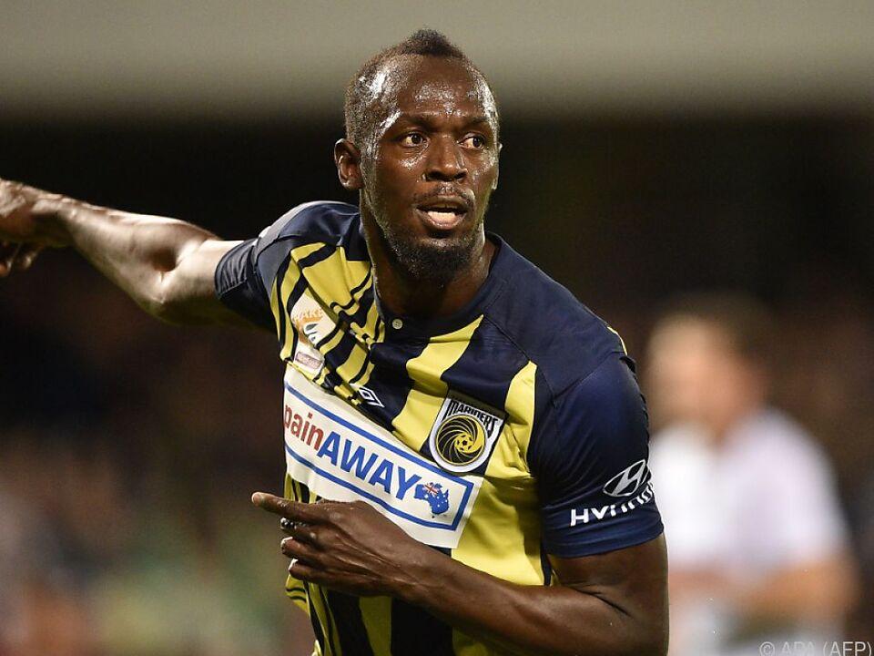 Usain Bolt im Dress seines derzeitigen Vereins Central Coast Mariners