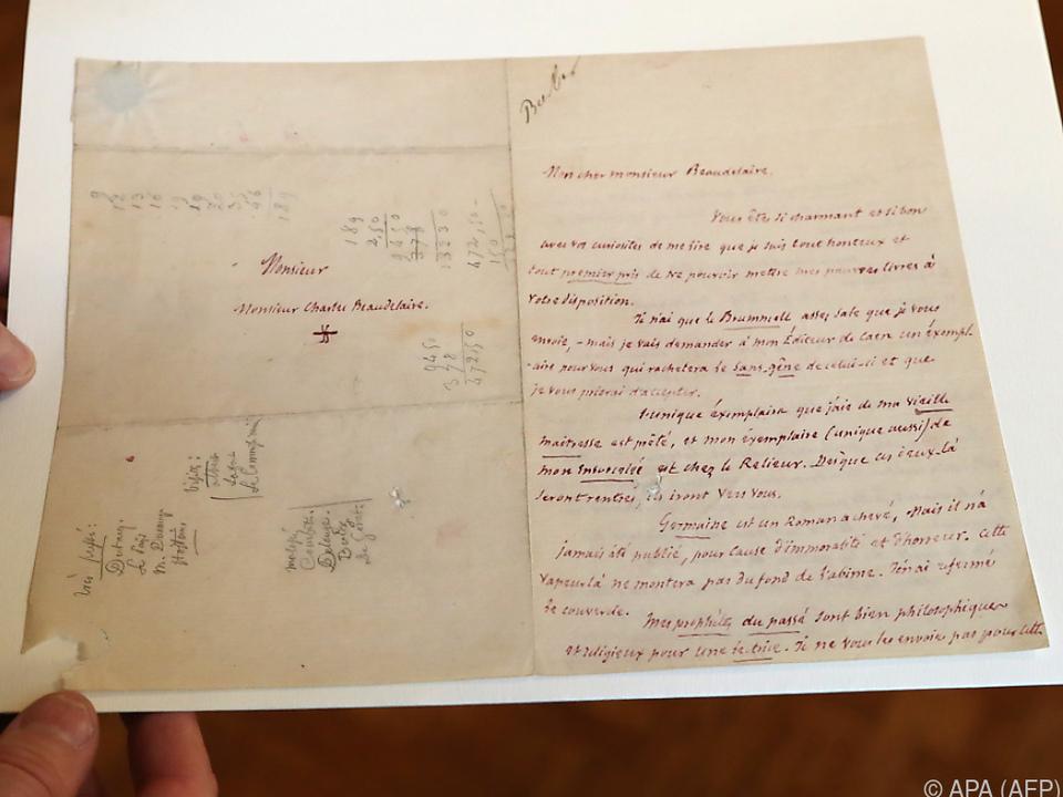 Baudelaire-Brief brachte bei Auktion mehr als erwartet