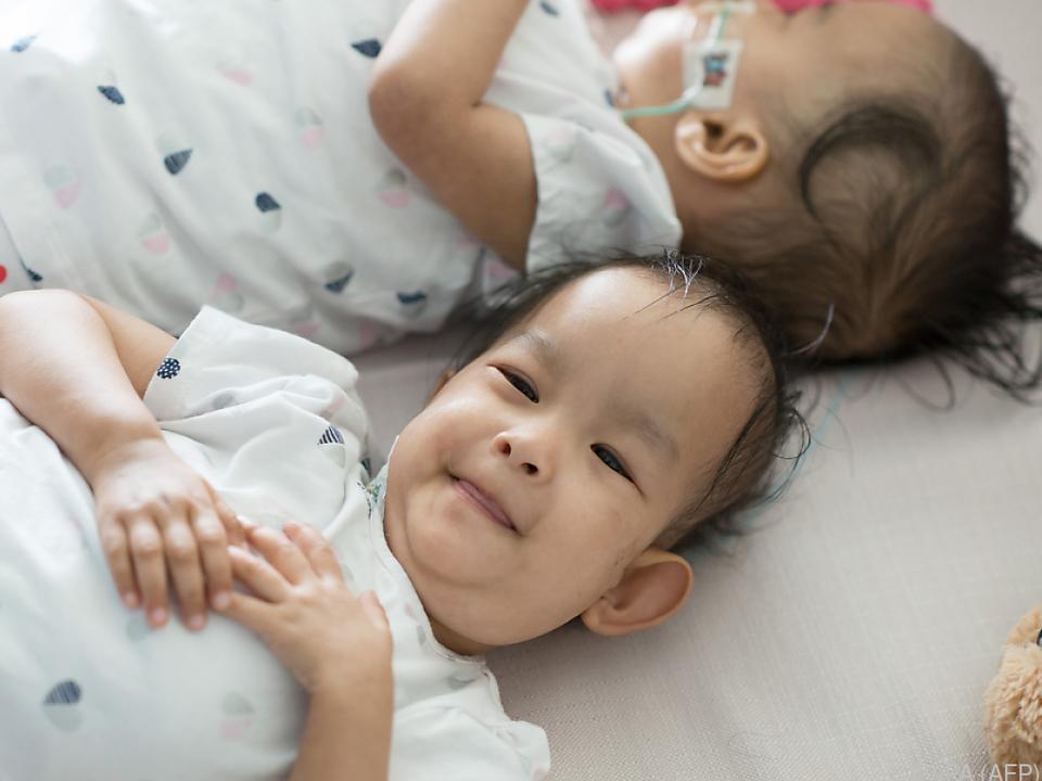 Die Zwillinge schlafen nicht gern getrennt
