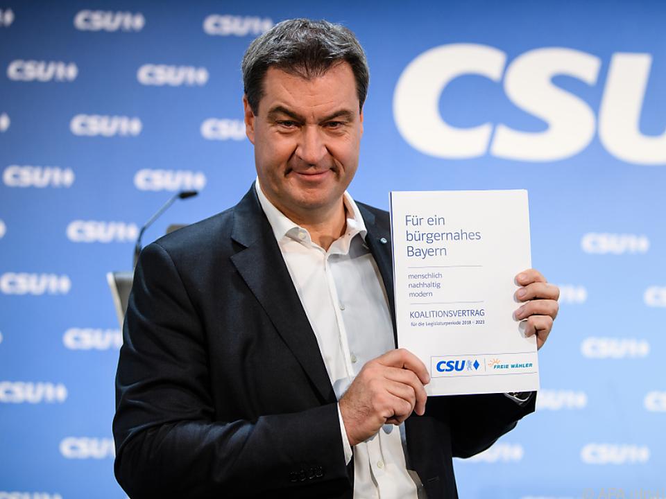 Markus Söder präsentiert den Koalitionsvertrag