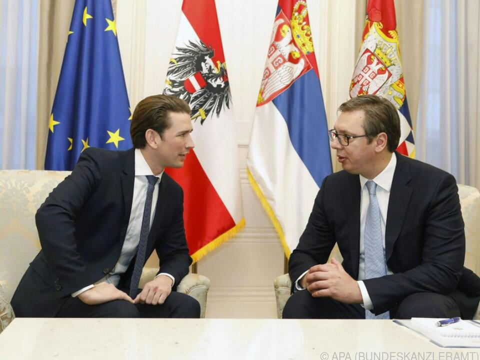 Sebastian Kurz traf auf Serbiens Präsident Aleksandar Vucic