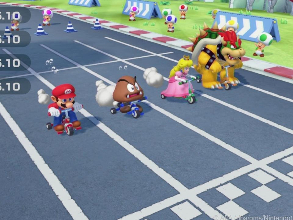 Super Mario Party besteht aus vielen Minispielen - zum Beispiel Dreiradfahren
