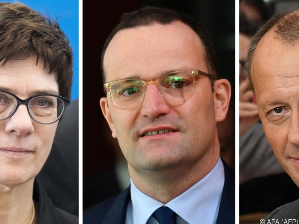 Wer folgt Merkel: Kramp-Karrenbauer, Spahn oder Merz (v.l.)
