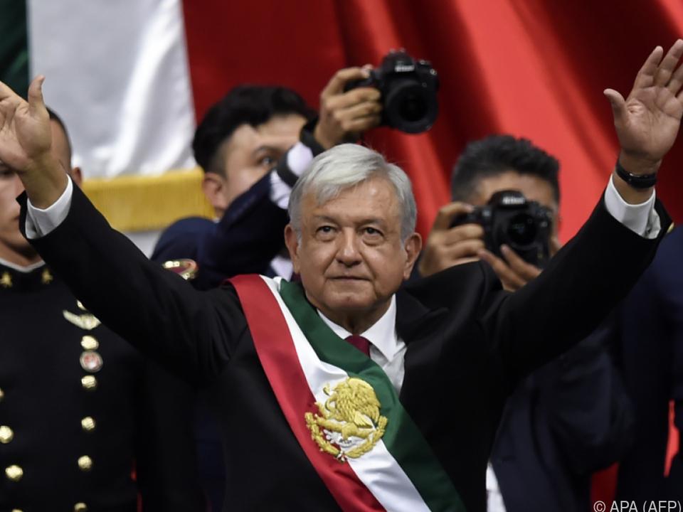 Andres Manuel Lopez Obrador während der Vereidigungszeremonie