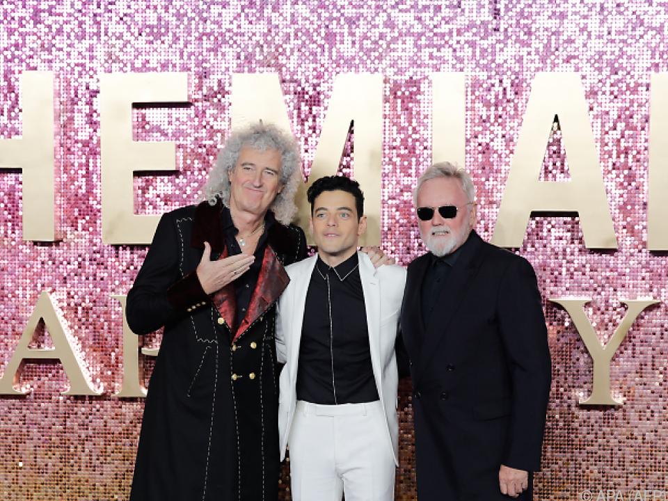 Brian May und Roger Taylor mit Schauspieler Rami Malek