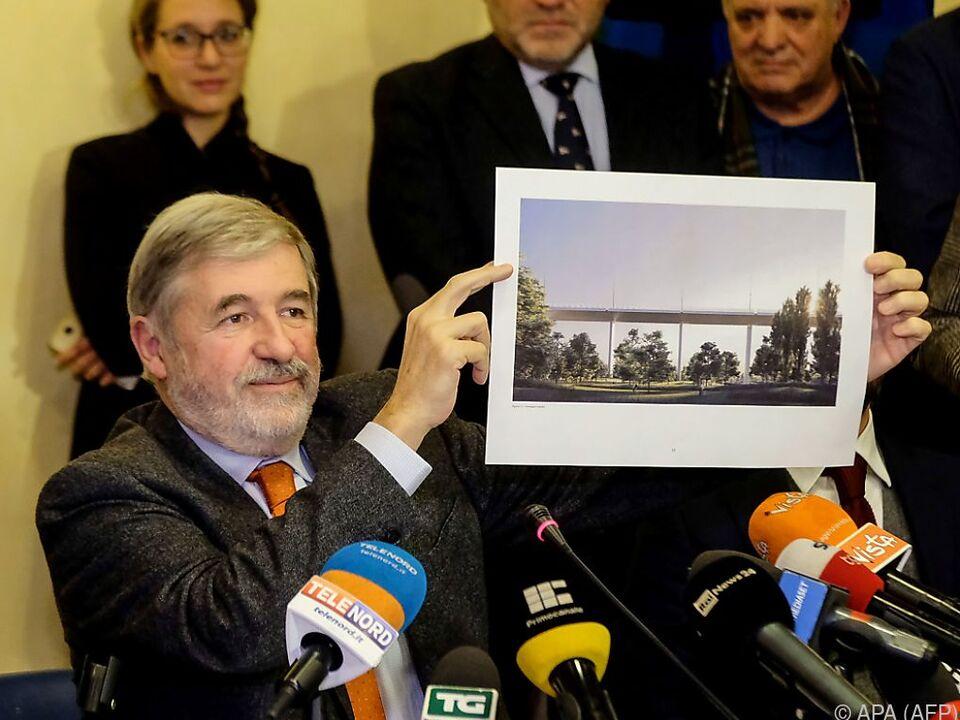 Genuas Bürgermeister Marco Bucci präsentierte die Brückenbaupläne
