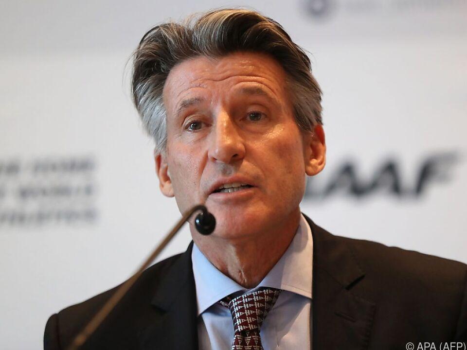 IAAF-Präsident Sebastian Coe bei einer Pressekonferenz am Dienstag