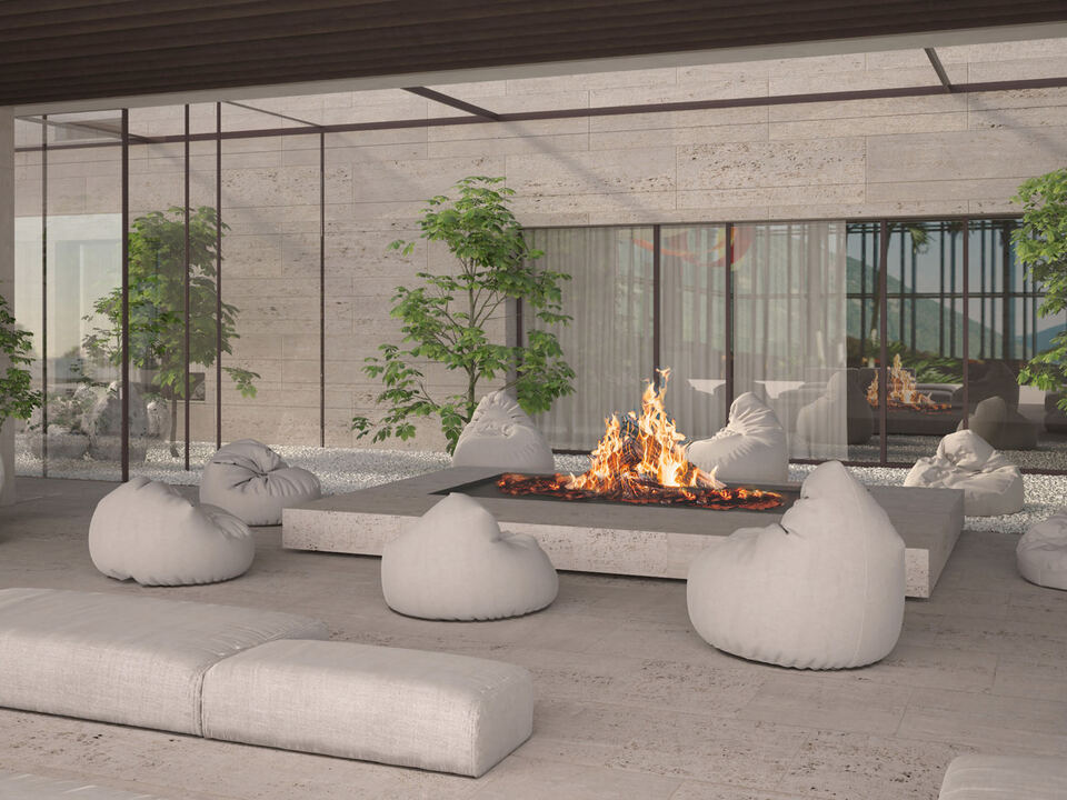 Rendering Fire Place, Therme Meran
