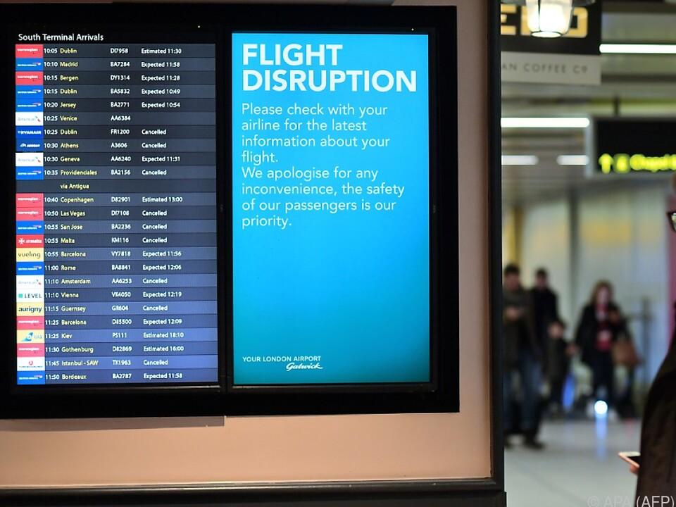 Wieder Ausfälle am Londoner Flughafen Gatwick