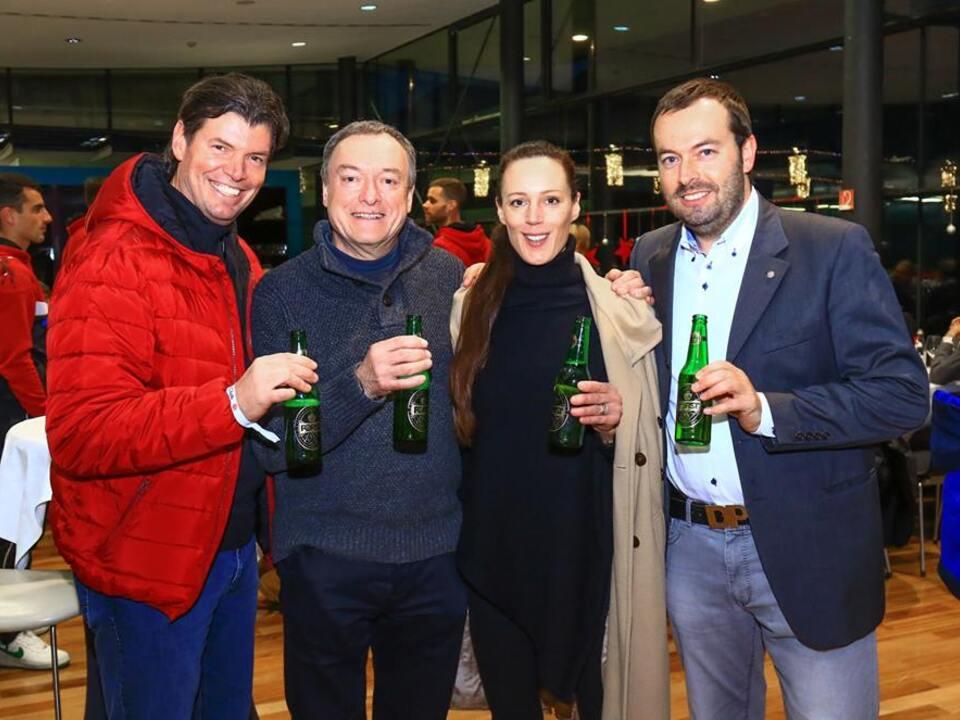 Da sinistra Gerhard Comper, Walter Baumgartner, Cellina von Mannstein (Junior Chef Forst) e Dietmar Pfeifer