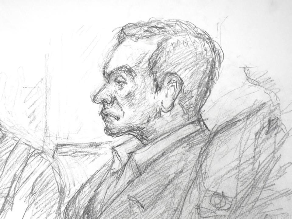 Der inhaftierte Automanager auf einer Gerichtszeichnung